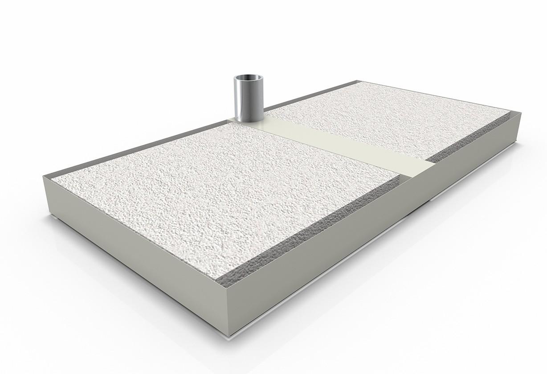 Base in ferro con piastrelle in ciottolo 54x117 cm Poggesi