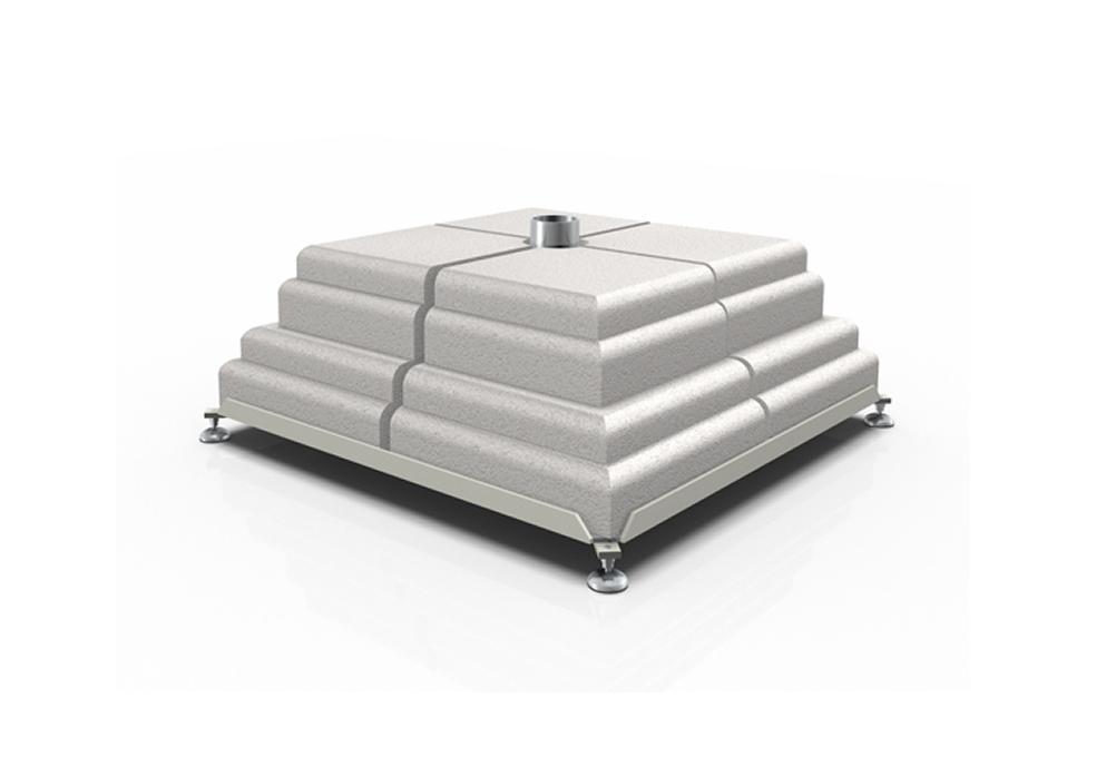 Base in ferro con set di 8 pesi in cemento Poggesi